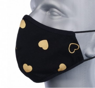 Adult Protective Washable Face Masks - Bell Mask BLACK w/hearts (no nose wire) - Pack 5
