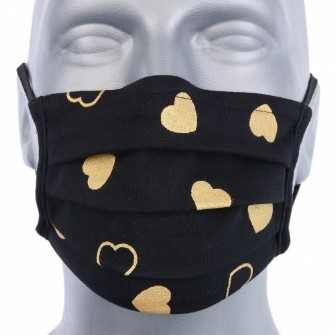 Adult Protective Washable Face Covering - Pack of 5 - Black with gold hearts