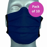 10 Pack Protective Washable Face Masks - Navy (Pleated)