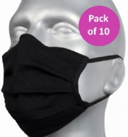 10 Pack Protective Washable Face Masks - Black (Pleated)