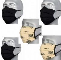 Protective Washable Face Covering - Pack of 5 - Black and Ivory.