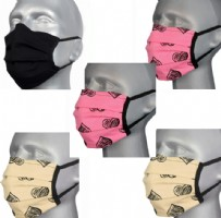 Protective Washable Face Masks  - Hearts & Black (pleated) - Pack of 5