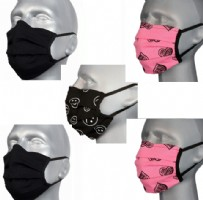 Protective Washable Face Masks  - Pink n Black (pleated) - Pack of 5