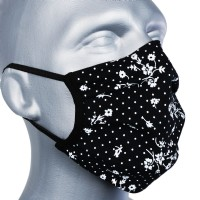 Protective Washable Face Masks - Floral Black (Pleated) - Pack of 5