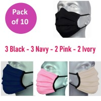 10 Pack Protective Washable Face Masks - Mixed Plain Colour Pleated