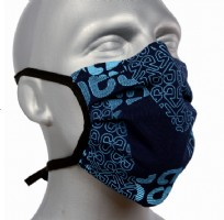 Tie-Back Protective Washable Face Masks - Blue Text Pleated - pack of 5