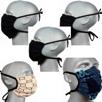 Tie-back Protective Washable Face Masks - Mixed Pleated - Pack of 5