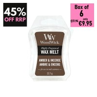 Pack of 6 - WoodWick Wax Melts - Amber & Incense