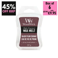 Pack of 6 - WoodWick Wax Melts - Black Plum Congnac